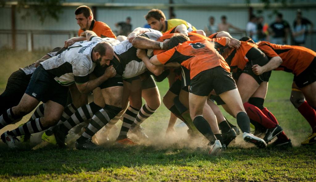 Photo of two rugby teams in a scrum (Levi Davis not pictured)