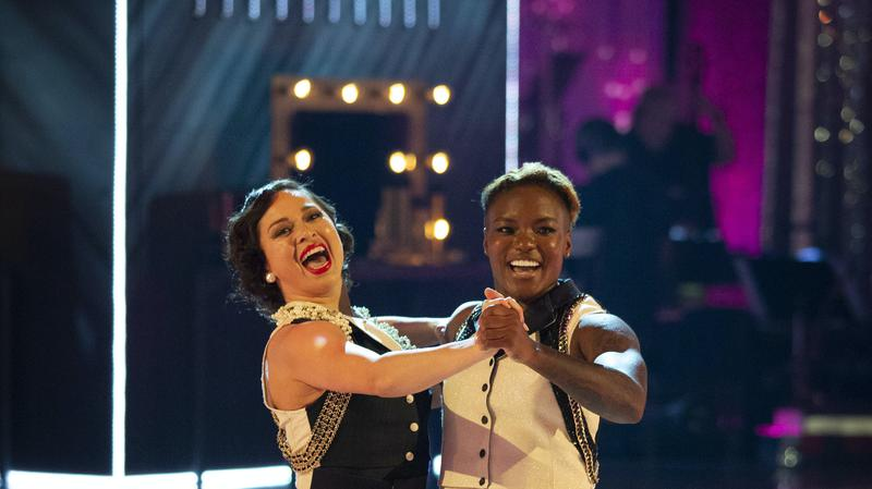 Katya Jones and Nicola Adams dance a quickstep together, looking very happy,